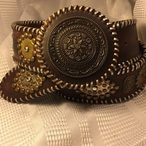Chico's leather embroidered/studded buckle belt